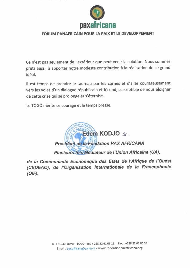 Crise au Togo: l'ex-premier ministre Edem Kodjo se prononce enfin!