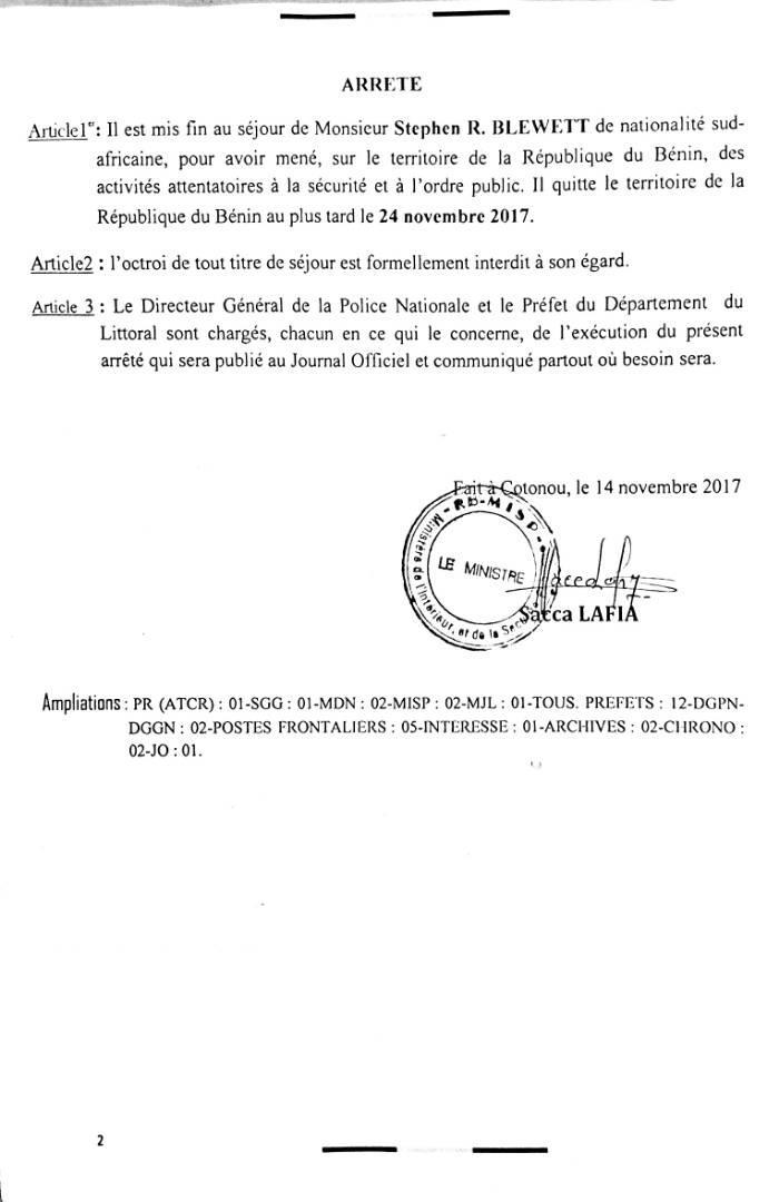 Bénin: le directeur général de MTN, expulsé du pays