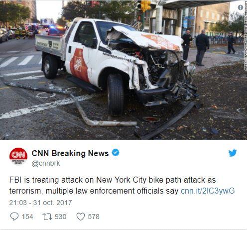 New York: 8 morts dans un 'acte terroriste d'une grande lâcheté'