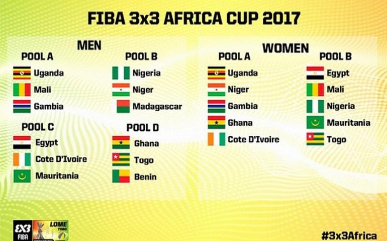 Les pays en lice pour la CAN de Basketball 3X3 à Lomé