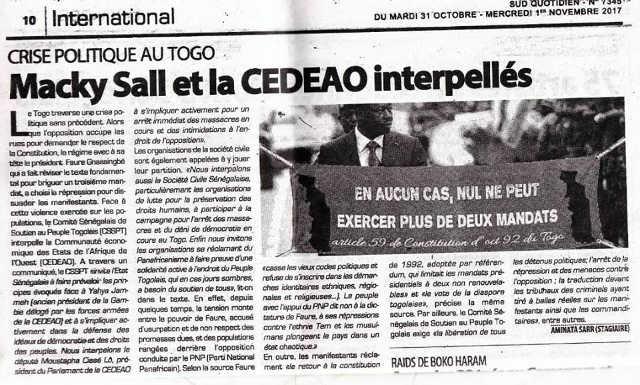Crise Politique Au Togo : Macky Sall et la Cedeao interpellés.