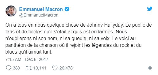 Emmanuel Macron assistera à l'enterrement de Johnny Hallyday