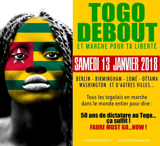 13 janvier 2018 : Les Togolais manifestent partout dans le monde…contre Faure !