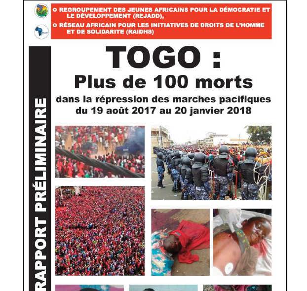 Togo, Répression des manifestations : Plus de 100 morts depuis le 19 août 2017. Selon REJADD et  RAIDHS (Rapport)