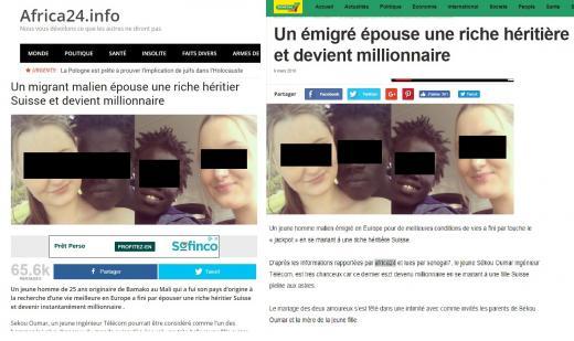 Ce 'migrant malien' a t-il épousé une riche héritière Suisse pour devenir millionnaire ?
