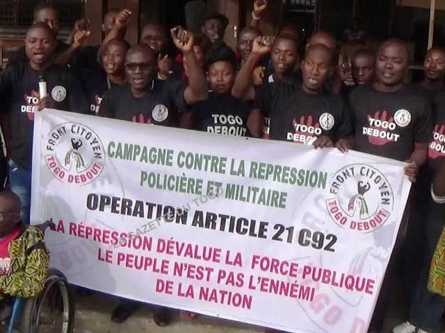 Togo : Le Front Citoyen Togo Debout lancent une « Campagne contre la Répression Policière et Militaire »