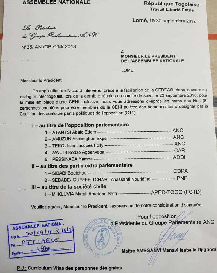 Togo : Les huits représentants des forces vives sont connus                                                                             1 octobre 2018