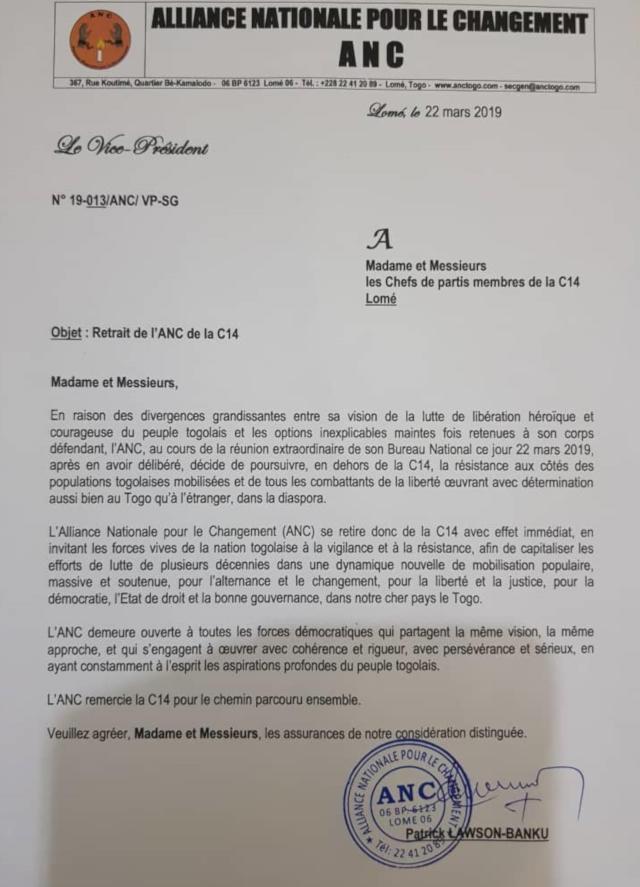 Togo : L'ANC se retire de la C14
