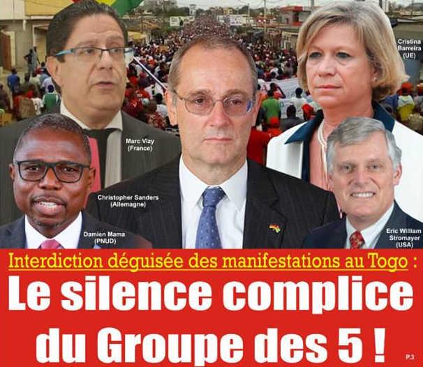 Interdiction déguisée des manifestations au Togo : Le Silence Complice du « Groupe des 5 »
