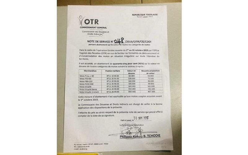 L'OTR lance une opération foraine d'immatriculation des motos en situation irrégulière