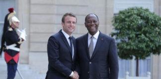 Les Présidents Français, Emmanuel Macron et Ivoirien Alassane Dramane. Ouattara  Archives : DR