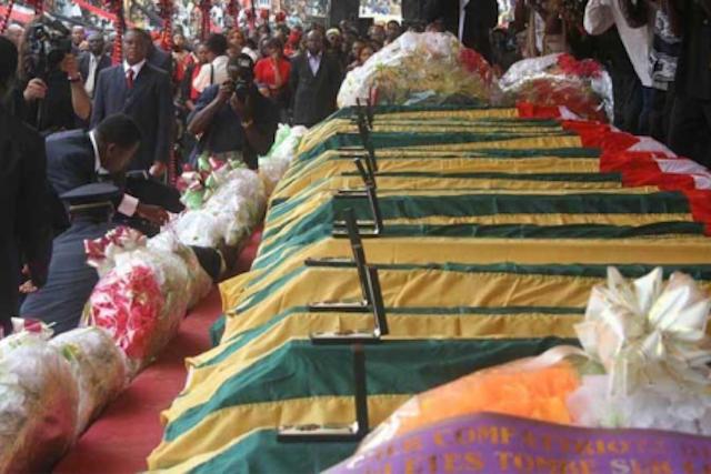 Dépouilles des victimes du Crash de Lungi