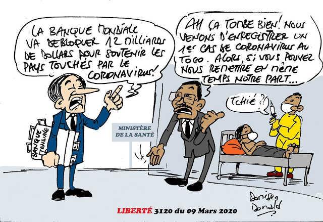 Fausse patiente de Coronavirus au Togo | Caricature : Donisen Donald / Liberté