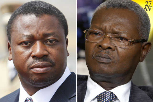 Faure Gnassingbé (g) et Agbéyomé Kodjo (d)