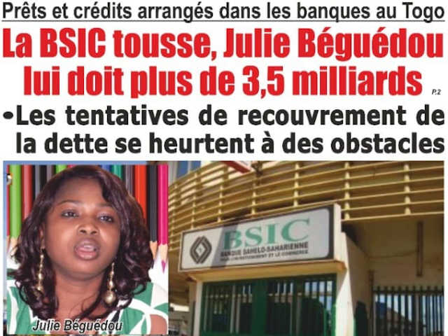 julie begoudou endettee envers bsic