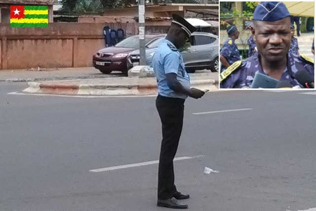 policier en faction et chef police Colonel Yaovi Okpaoul
