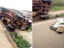 un camion accidente sur la route de djagble