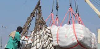 Du riz blanc offert par le Japon déchargé du navire